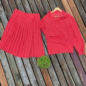 Vintage Polka Dot Red White Skirt Suit 2 Pc.Outfit